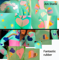 Above: Another composite image assembled by Amy shows (top) close-ups of the appliqués on her original Am Statik unicorn outfit, and (bottom) equivalent appliqués designed by the German customer and added to the version made by Fantastic Rubber