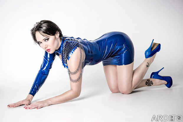 BLUE NOTE: Model/singer Rachael Vee hosts this year's Ball (photo: Ardi Foto; latex: Pandora Deluxe)
