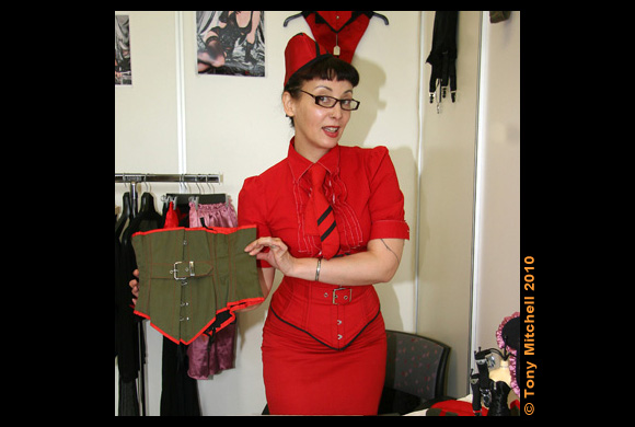 GOODBYE VELDA: Designer Velda Lauder on her stand at her first German Fetish Fair, in Hamburg, 2010