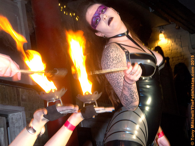 GOT A LIGHT? Designer Kirsty Robertson leads Slaughter House Couture fire show at Feb Rubber Cult