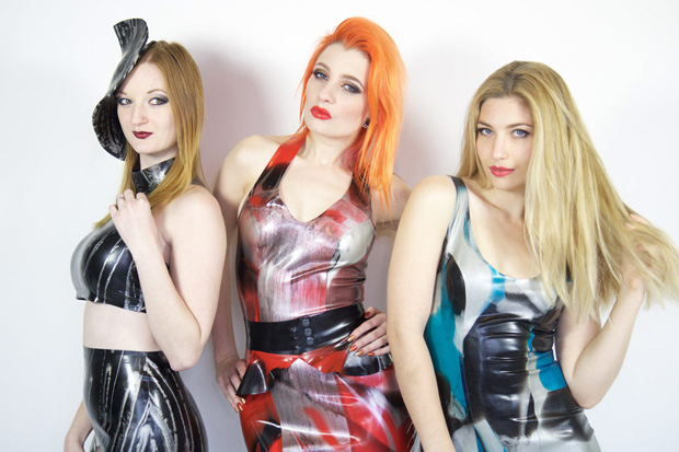 YUMMY GUMMY: Zara DuRose, Ulorin Vex and Rebecca Allsop model latest Yummy Gummy ready-to-wear styles (photo: Cole Black)ummy-Ready-To-Wear-Latex-Cole-Black-620w