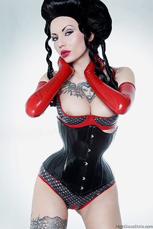 Full-frame version of our Monique Charriere cover image — latex and photography by Katja Ehrhardt/HighGlossDolls