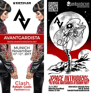 Flyers for Avantgardista debut weekend and its Space Intruders party