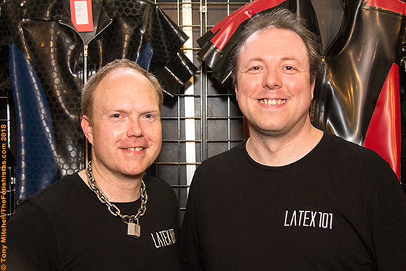 Stewart and Richard on the Latex 101 stand at the German Fetish Fair in Berlin