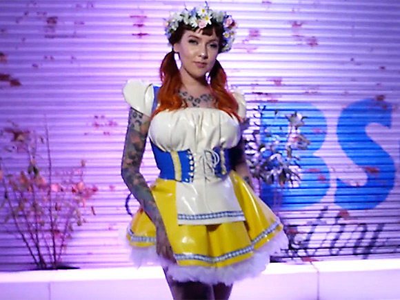 Psylocke GFB Chat: the model in her lall-latex Swedish folk costume at GFB 2018