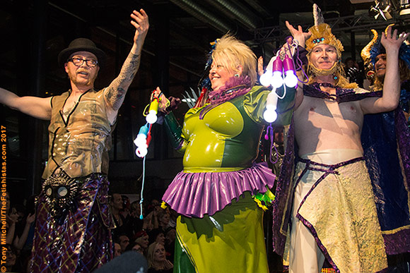 Excess Latex's Al Holt and Jeannie Lou (left and centre) onstage at Avantgardista 2017 with Catasta Charisma after the ExxEss-Catasta fashion show