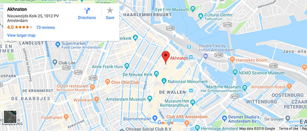 Map showing Amsterdam location of EuroPerve VII venue Akhnaton
