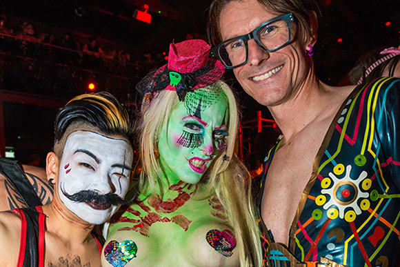 Reviewer Ian Dutton (right) and pals at Torture Garden Halloween 2018