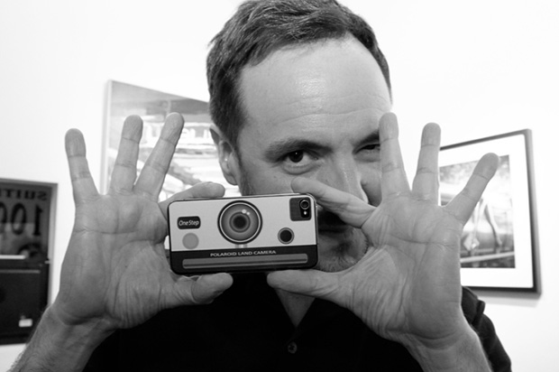 Steve Diet Goedde with Polaroid camera used to create an earlier collection of images