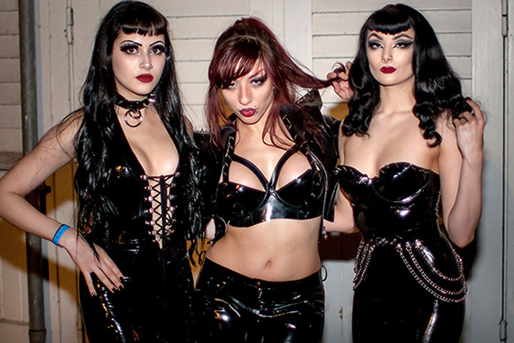 Fetish Fashion Party 2018 backstage with House of Harlot's Iris Trika (centre) and HoH Models
