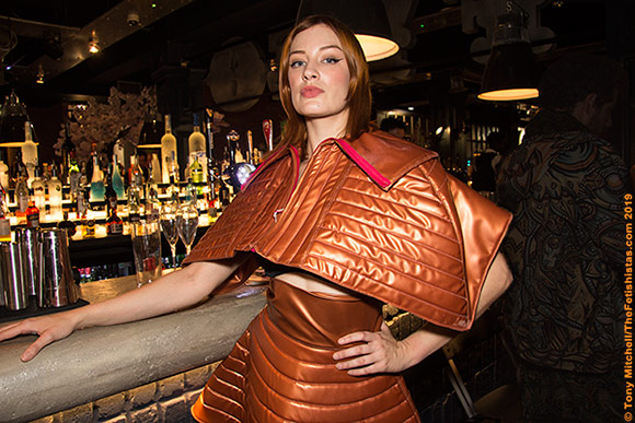 Kelly O'Connell models EctoMorph's new Japanese-inspired quilted latex at Le Boutique Bazaar, LFW 2019