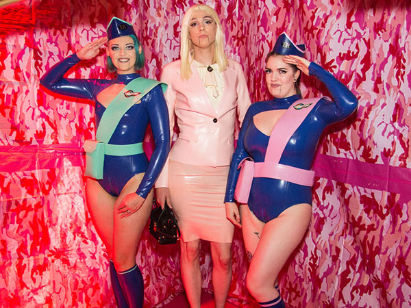 Guests in Phurc custom Thunderbirds latex outfits at LFW/ZDR Dollhouse Ball (photo: Tony Mitchel)
