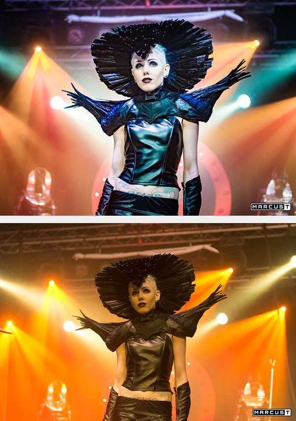 Before (below) and after- Lightroom examples of a show image of Amy Statik by MarcusT