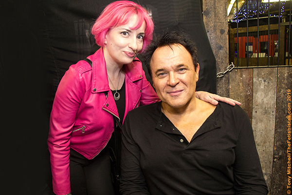Mik Scarlet, campaigner for disabled access at events, seen with wife Diane at FAB's Steve Diet Goedde night in 2019, is campaigning for better disabled access to fetish events