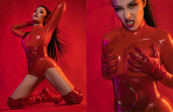 Takedowns of these images by Instagram and Facebook persuaded model Psycatt that latex vs social media was a hot issue — see story further down this page (photos: Busha)