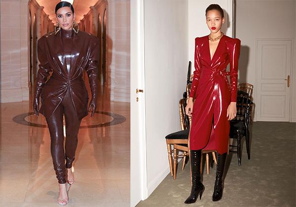 PARIS A/W LATEX: Kim Kardashian wears Balmain; right: Saint Laurent RTW Midi Wrap Dress