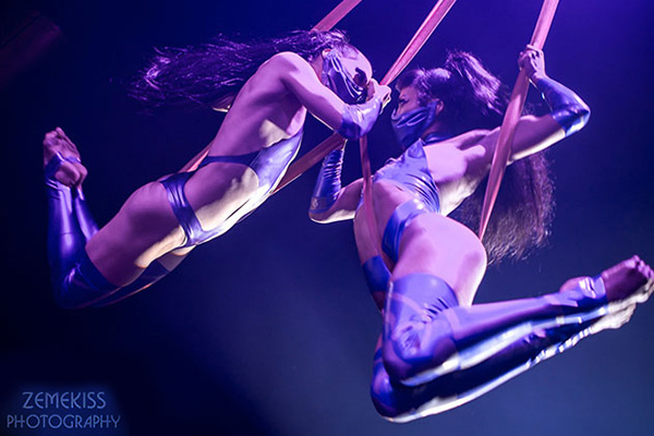 VANCOUVER FETISH WEEKEND returns in 2022. Photo by Zemekiss Photography: Raven aerial performance at VFW 2019