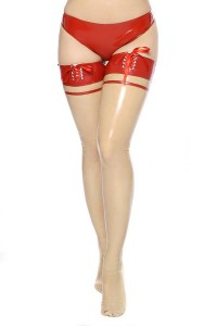 Stockings transparent with red trim