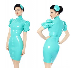 Latex dress with front zip in Mint Green