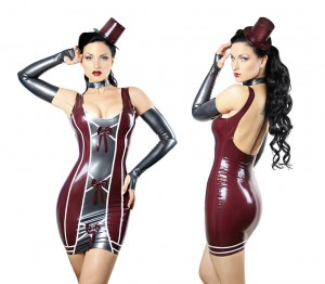 Latex dress in Aubergine with Pearlsheen Pewter Trim. Gloves and hat not included