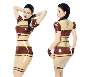 Lovely dress in transparent and chocolate brown latex