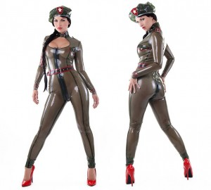 Military catsuit + beret