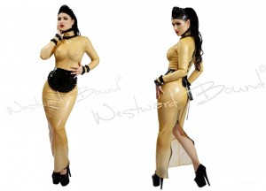 Rubberdoll Latex Maid Dress in Transparent and black. 3-piece
