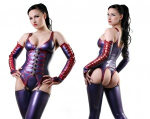 Pearlsheen purple and red padlock corset with gauntlets and thong