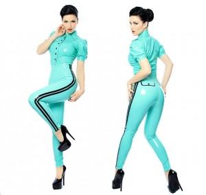 Mint green stripe leggings