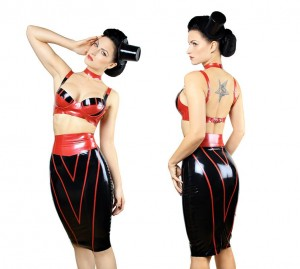Black and red skirt and bra.