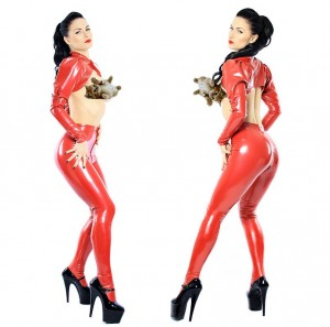 Red leggings with feet and two way zip