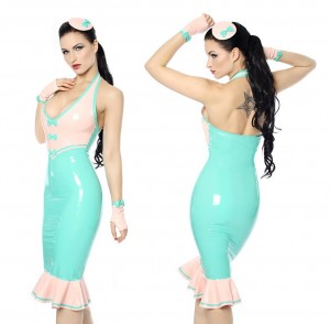 Latex dress with accessories in Mint Green with Baby Pink Trim.